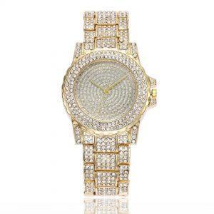 Ženska ročna ura Crystal Diamonds Gold