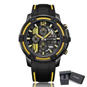 Moška ročna ura Megir Stripe Racer Yellow