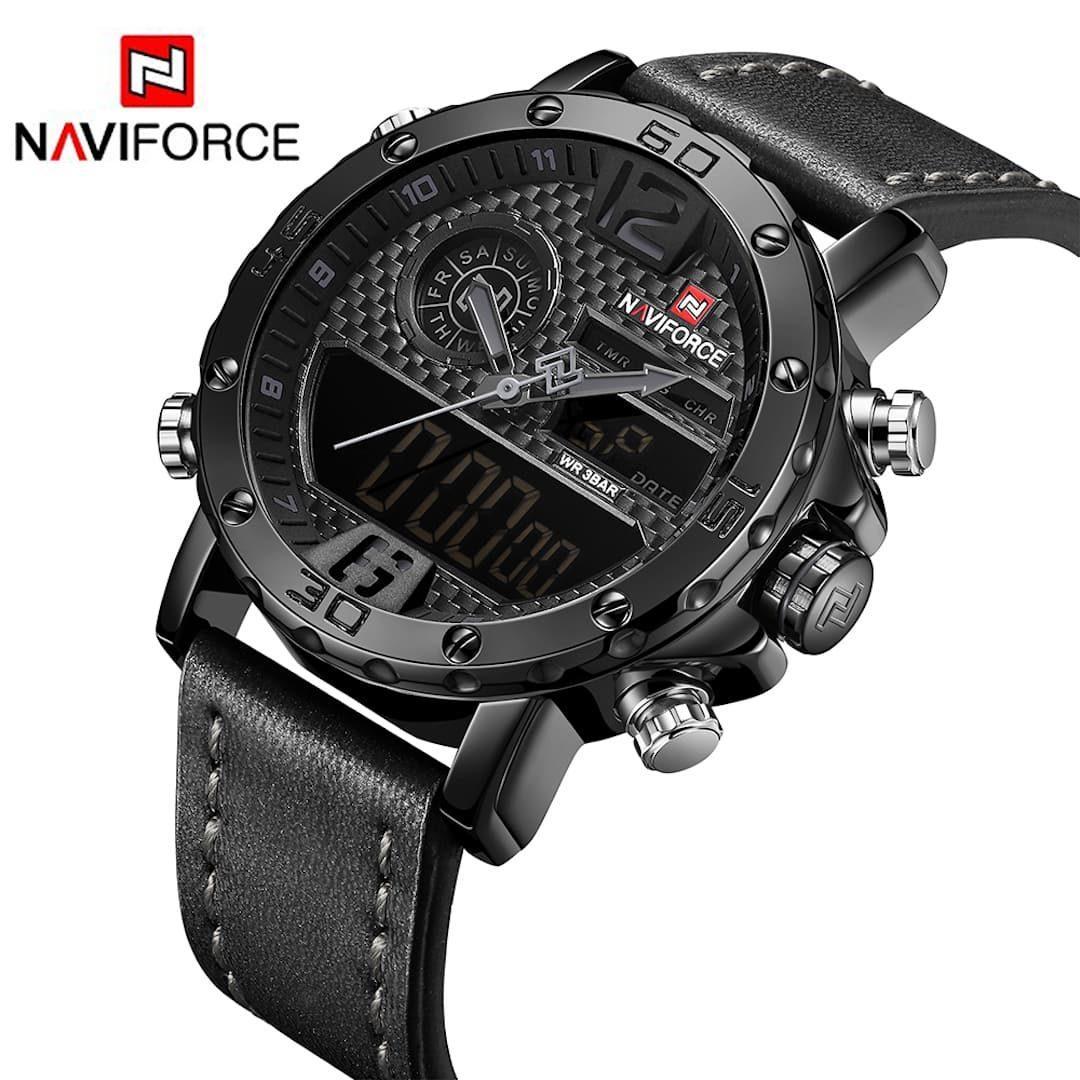 Moška ročna ura NaviForce Carbon Black