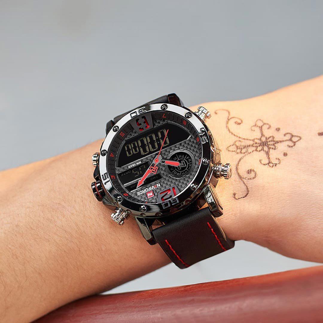 Moška ročna ura NaviForce Carbon Black/Red