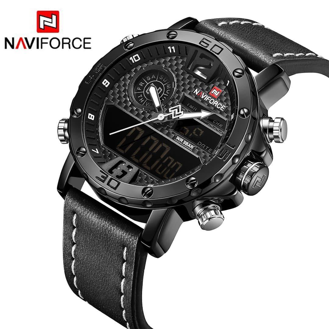 Moška ročna ura NaviForce Carbon Black/White