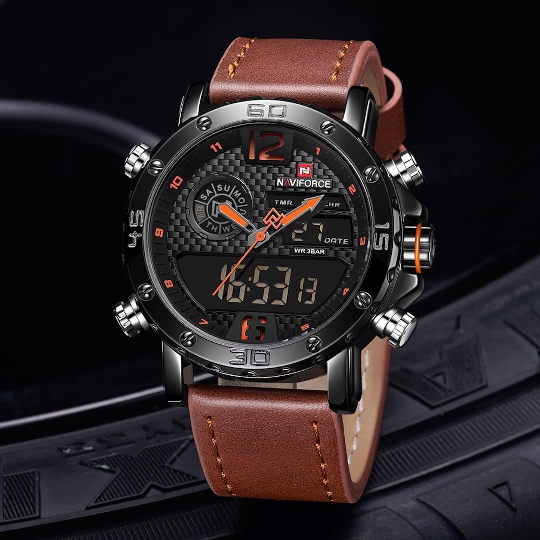 Moška ročna ura NaviForce Carbon Brown/Orange
