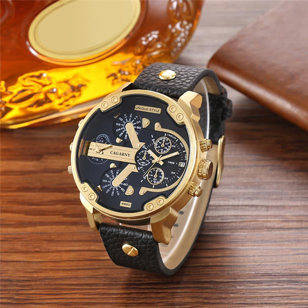 Moška ročna ura Cagarny Mr. Big Black/Gold Leather
