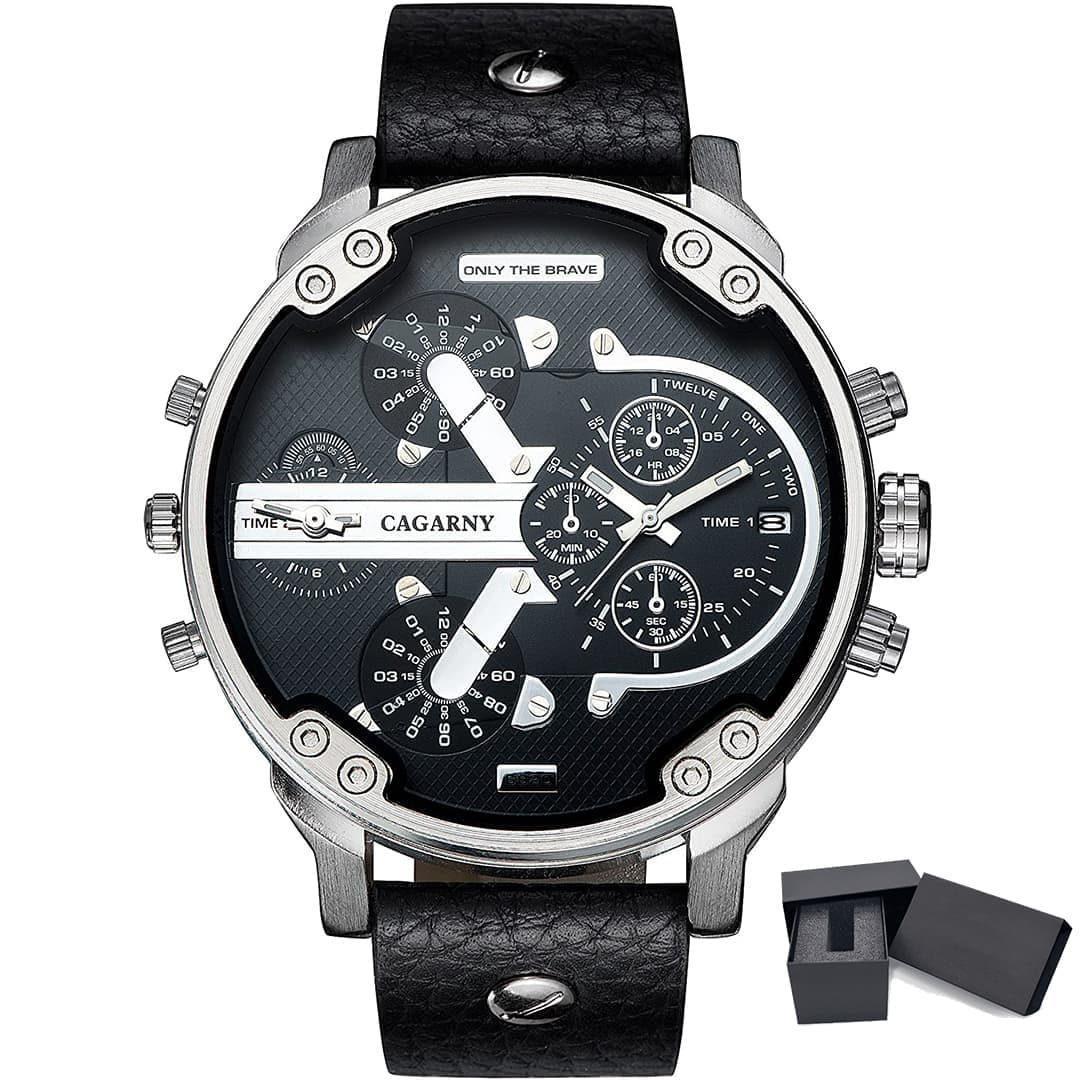 Moška ročna ura Cagarny Mr. Big Black/Silver Leather